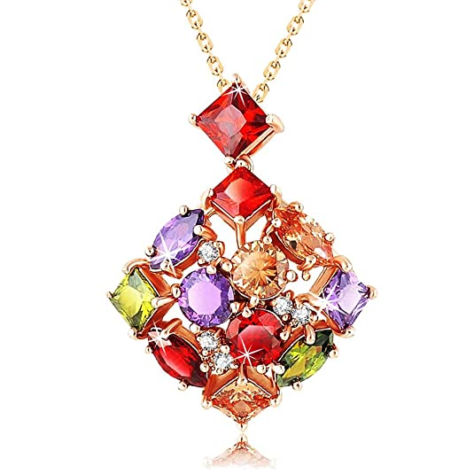 Yellow Chimes Multi-Color Sparkling Square Swiss Cubic Zirconia 18K Gold Plated Pendant for Girls and Women Pendants at amazon