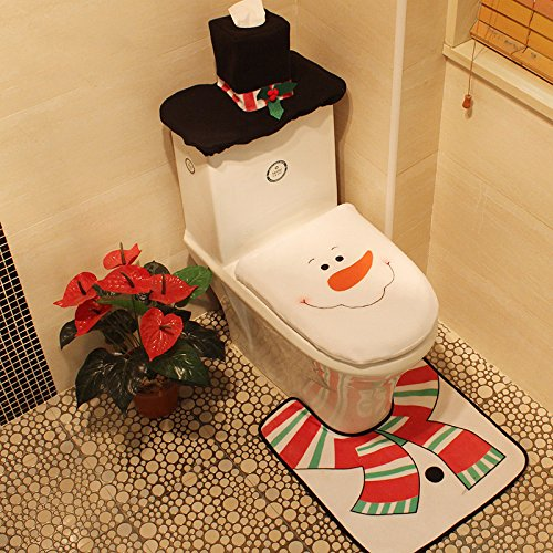 Hflong Christmas Snowman Toilet Seat Cover and Rug Tank Commode Set for Bathroom Christmas Decorations(Snowman)