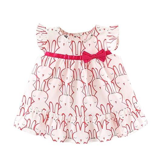 b1e551a9ad0a Amazon.com  Summer Newborn Baby Girls Dresses Casual Cute Rabbit ...