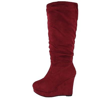 Damen Stiefel Keilabsatz Leicht Gefüttert High Heels Boots Wedge Stiefeletten JA72 (37, Rot Uni)