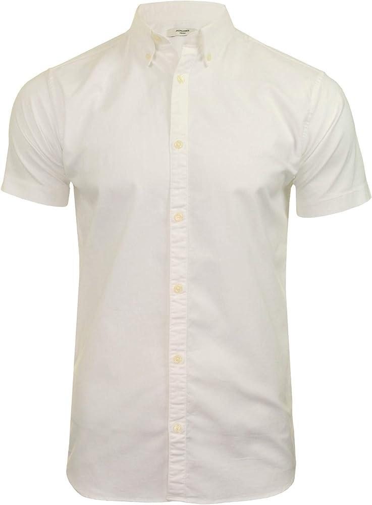 JACK & JONES Premium JPRLOGO Camisa Oxford elástica para Hombre – Manga Corta Blanco Blanco S: Amazon.es: Ropa y accesorios