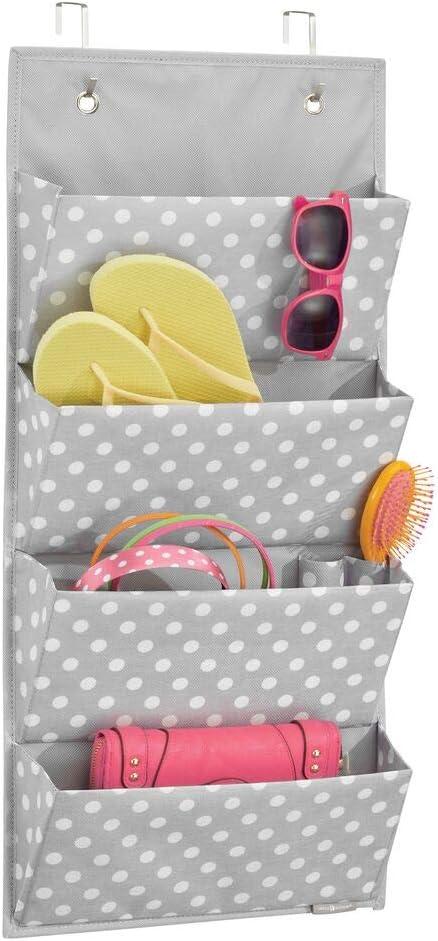 Organizador de accesorios gris//blanco Organizador para colgar en el armario o puerta zapatos y ropa mDesign Colgador de armario con 3 bolsillos