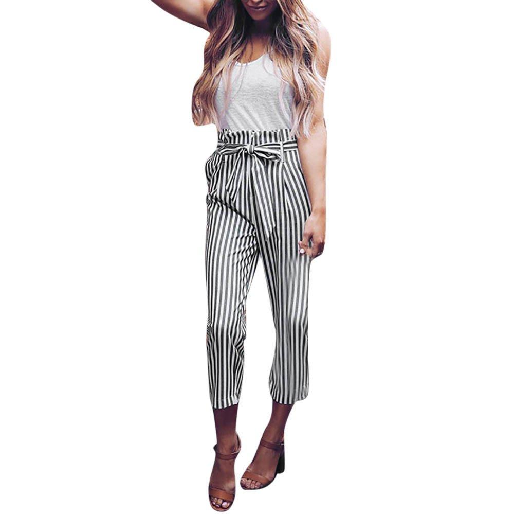 Kirbyates Women High Waist Stripe Harem Pants Women Bowtie Elastic Waist Stripe Casual Pants White