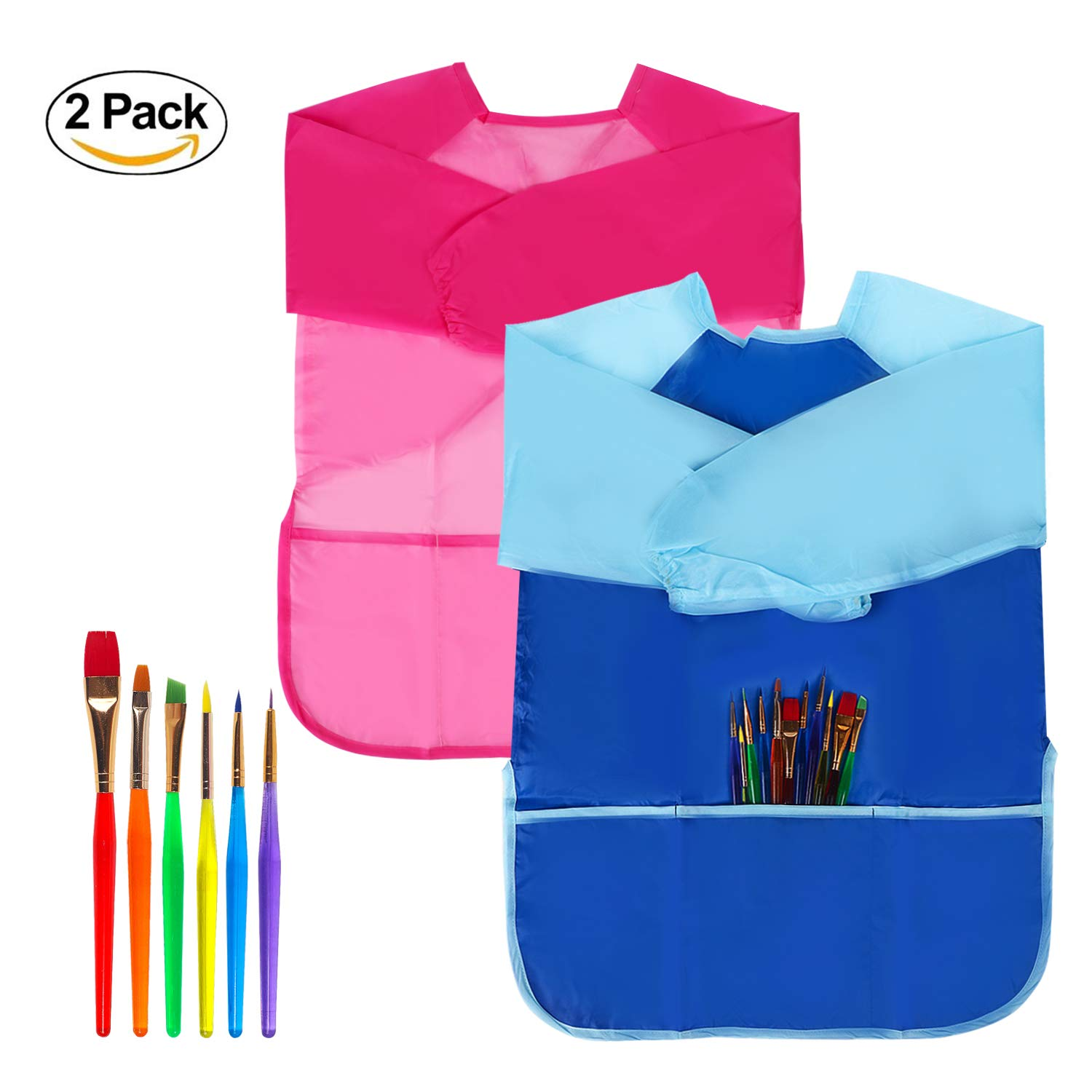 USHF 2 Pack Kids Art Smock, Children Waterproof Artist Painting Aprons with 6 Paint Brushes - Long Sleeve - 3 Roomy Pockets - for Art, Craft, Cooking, Lab Activity - Ages 2-6
