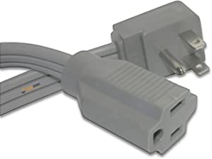 #1 Best Quality Heavy Duty Extension Cord Wire, Grey, (12 FT) Ideal for Air Conditioner and Major Appliance
