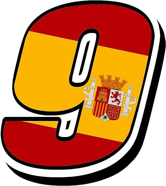 Biomar Labs® Número 9 Bandera Nacional España Spain Calavera Vinilo Adhesivo Pegatina Coche Auto Motocross Moto Sport Start Racing Tuning N 289: Amazon.es: Coche y moto