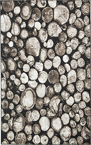 Unique Loom Metro Collection Black and White Abstract Logs Black Area Rug (5' 0 x 8' - Contemporary Rug Brown Metro