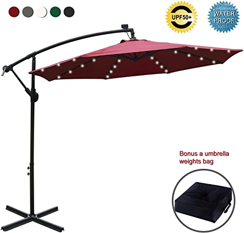 ABCCANOPY 10 FT Solar Powered LED Patio Outdoor Umbrella Hanging Umbrella Cantilever Umbrella Offset Umbrella Easy Open Lift 360 Degree Rotation
