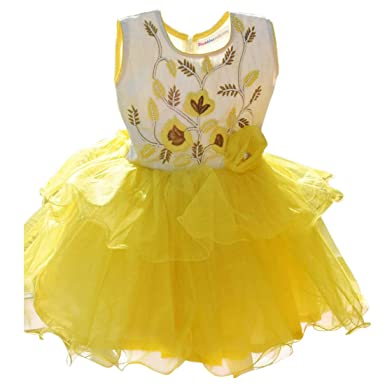 962f12ceea PinkBlue India Baby Girl Birthday Frock Designer Kids Party Wear Dress  Yellow  Amazon.in  Clothing   Accessories