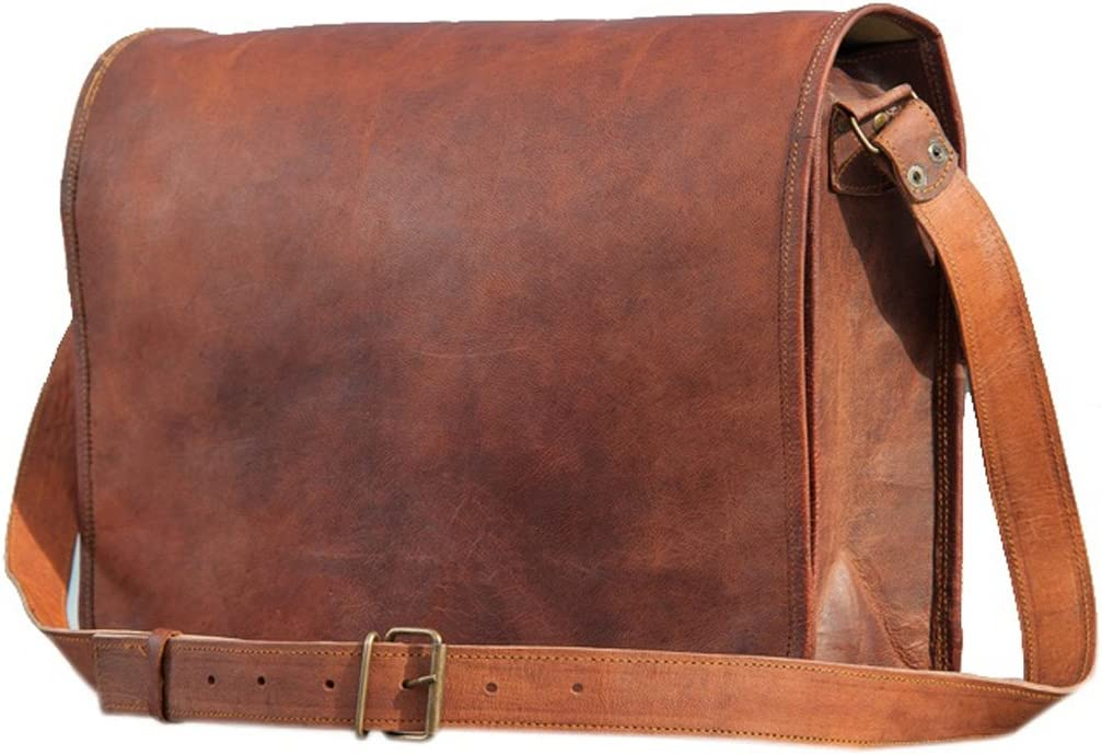 Genuine Goat leather messenger bag cross body bag in vintage style by SR Leather Small, Vintage Brown