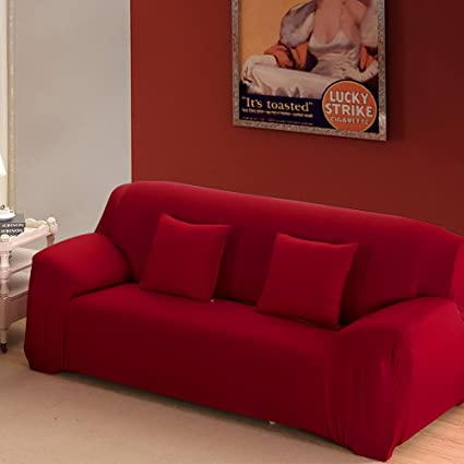 Boshen Stretch Seat Chair Covers Couch Slipcover Sofa Loveseat Cover 9  Colors/4 for 1 2 3 4 Four People Sofa + 1 Pillowcase (Sofa/3 Seater, Red)