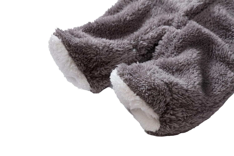 Vanbuy Fleece Cotton Baby Boys Girls Infant Bear Hoodie Jumpsuit Hooded Romper Bodysuit