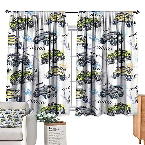 Unprecall Cars Room Decor for Boys Hand Drawn Watercolored Monster Trucks Enormous Wheels Off Road LifestyleYellow Lavander Blue Window Curtains W63 x L63