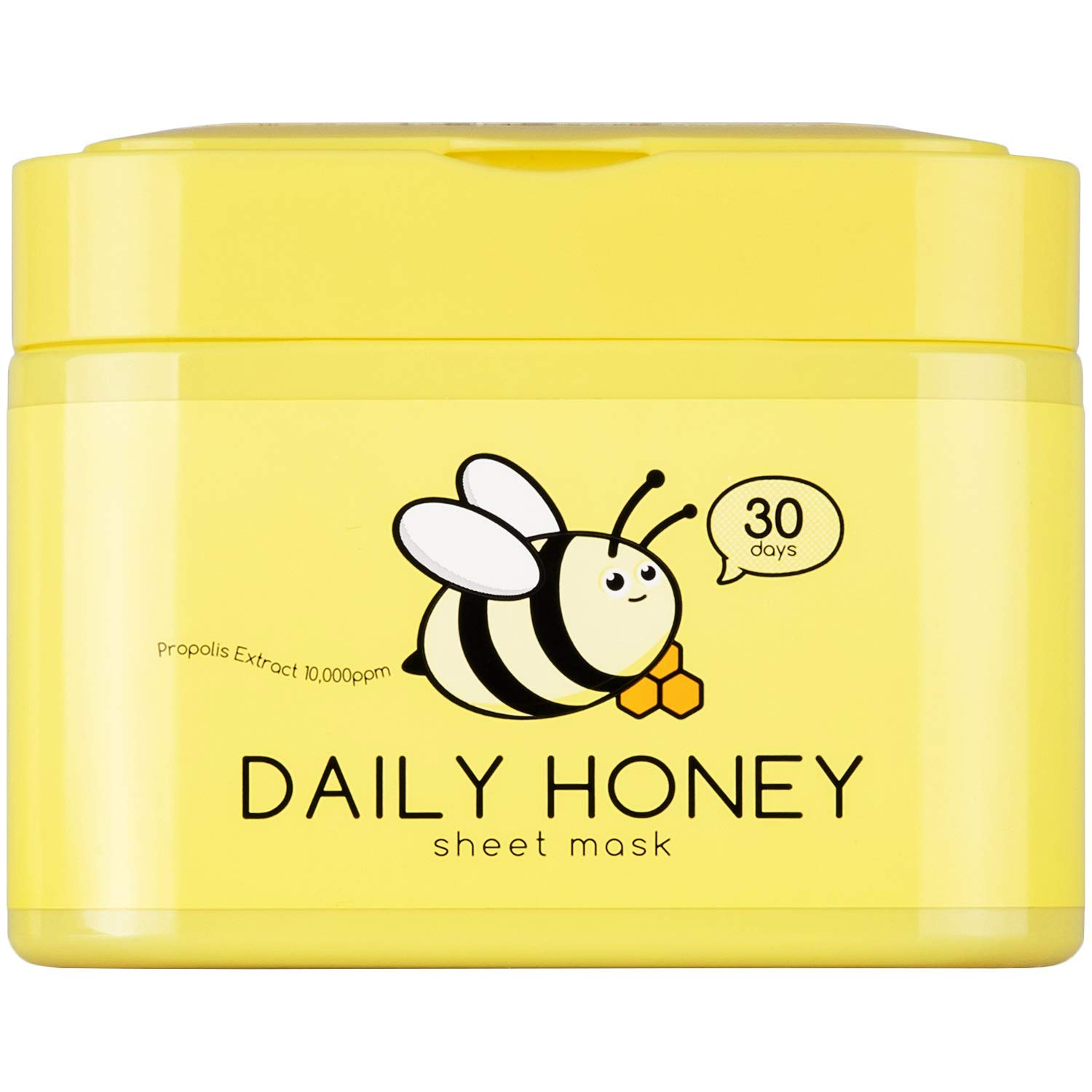 QTBT Daily Honey Sheet Mask with Propolis Extract 10000ppm, Moisturizing Korean Face Mask, Pack of 30 Sheets, EWG Verified