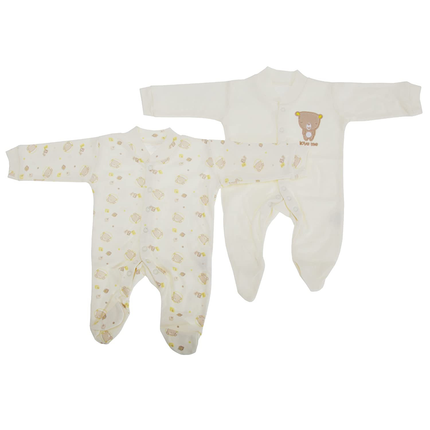0da4400ec Baby Patterned Long Sleeve Sleep Suits Boy, Girl And Unisex Options (Pack  Of 2) (Height: 56-62cm Weight: 6.5kg (0-3 Months)) (Cream): Amazon.co.uk:  Baby