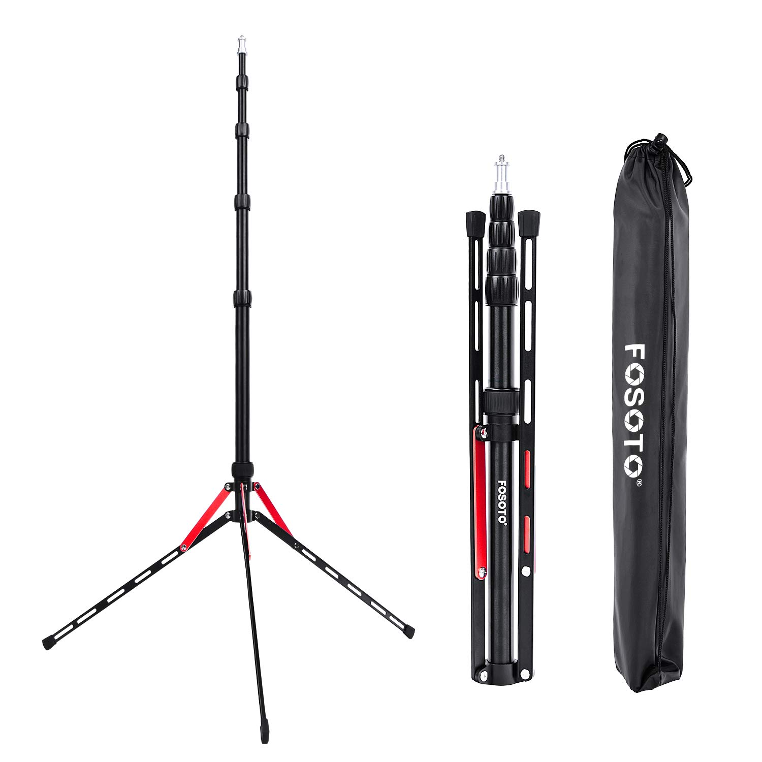 FOSOTO 7.2ft Aluminum Alloy Compact Portable Reverse Legs Light Stand with Carry Bag for Photography Video Photo Studios Photographic Equipment by FOSOTO