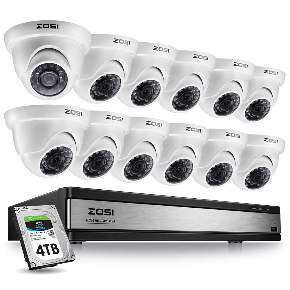 ZOSI 16 Channel 1080p Security Camera System,16 Channel DVR with 4TB Hard Drive and 12 x CCTV Dome Camera 1080p Outdoor Indoor with Long Night Vision and 105 Wide Angle