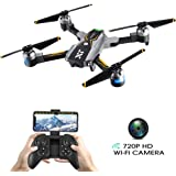 Atoyscasa Drones with Camera Live Video, FPV Foldable RC Drone with 720P HD Wi-Fi Camera 2.4GHz 6-Axis Gyro Quadcopter for Kids Beginners with Altitude Hold, Headless Mode (Grey-Black)
