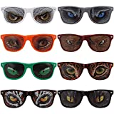 Ava & Kings 8 pc Mixed Color Animal Eye Decal Wayfarer Style Birthday Party Sunglasses Set