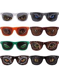 Ava & Kings 8 pc Mixed Color Animal Eye Decal Wayfarer Style Party Sunglasses Set