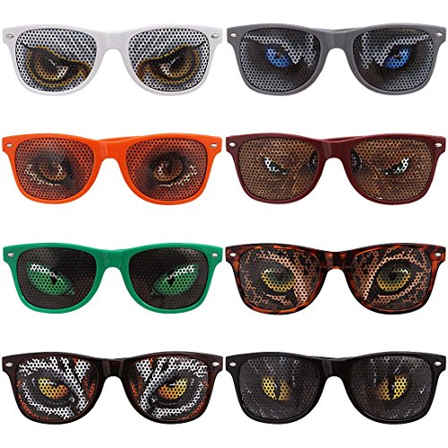 Ava & Kings 8 pc Mixed Color Animal Eye Decal Wayfarer Style Birthday Party Sunglasses - Sunglasses Dinosaur