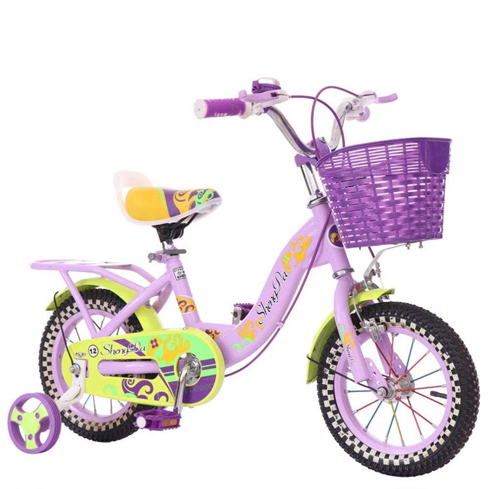 1-1 Bici Ragazza Bicicletta Altezza Regolabile Veloce Ruote PU Bicicletta di Montagna Doppio Freno Bambini Sicurezza Damping 14 Pollici,viola