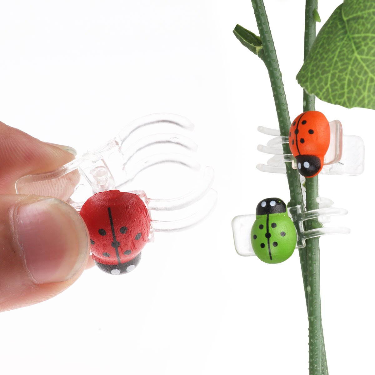 CHICTRY 30 Pack Cute Ladybug Orchid Clips Garden Flower Cymbidium Clips Plant Stem Support Clips for Supporting Stems Stalks Vines Grow Upright