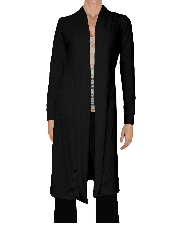 Ooh la la Jersey Knit Long Shawl Collar Cardigan (Large 36-37, Black)