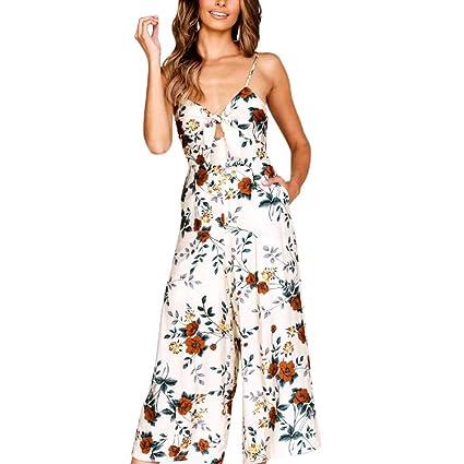 76320c438a5 Amazon.com  Women Jumpsuit Casual Sexy Strap V Neck Floral ...