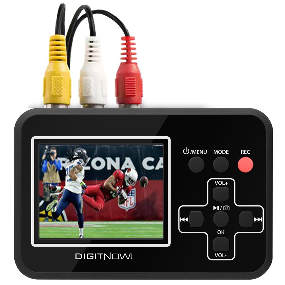 DigitNow Video To Digital Converter,Transferring Vhs To Digital Converter To Capture Video From VCR's,VHS Tapes,Hi8,Camcorder,DVD, TV Box and Gaming Systems, etc.Digitize Video Tapes Directly