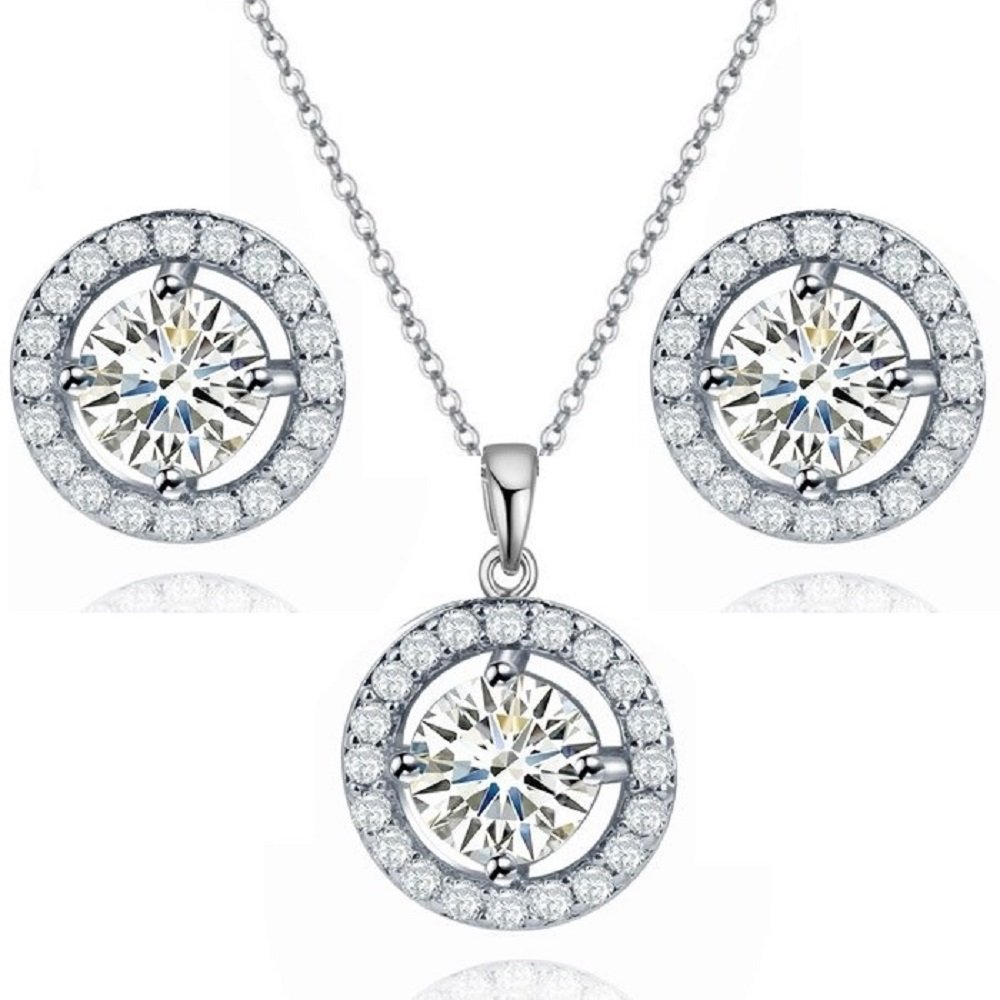 Set with Round White Zirconia Crystals Pendant Necklace 18 Stud Earrings 18 ct White Gold Plated for Women Crystalline CA-AZ-CR-0162
