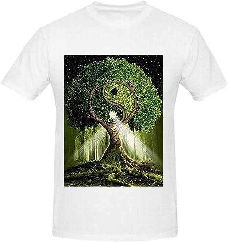 tayclb Árbol de la vida símbolo de crecimiento sabiduría protección Bounty Redemption con Yin y Yang DIY de manga corta o cuello camisa de hombre blanco: Amazon.es: Ropa y accesorios