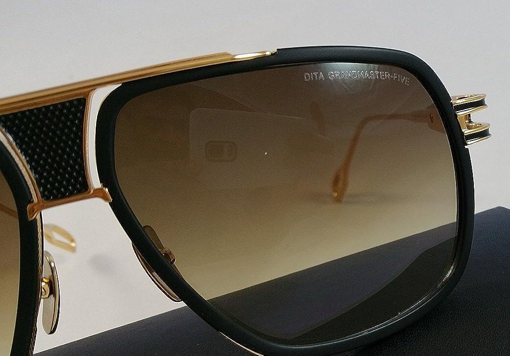 9505700e4f8e Dita Grandmaster Five Sunglasses DRX 2077 Black Frame in 18K Gold   Brown  Gradient Lens Aviator  Amazon.co.uk  Clothing