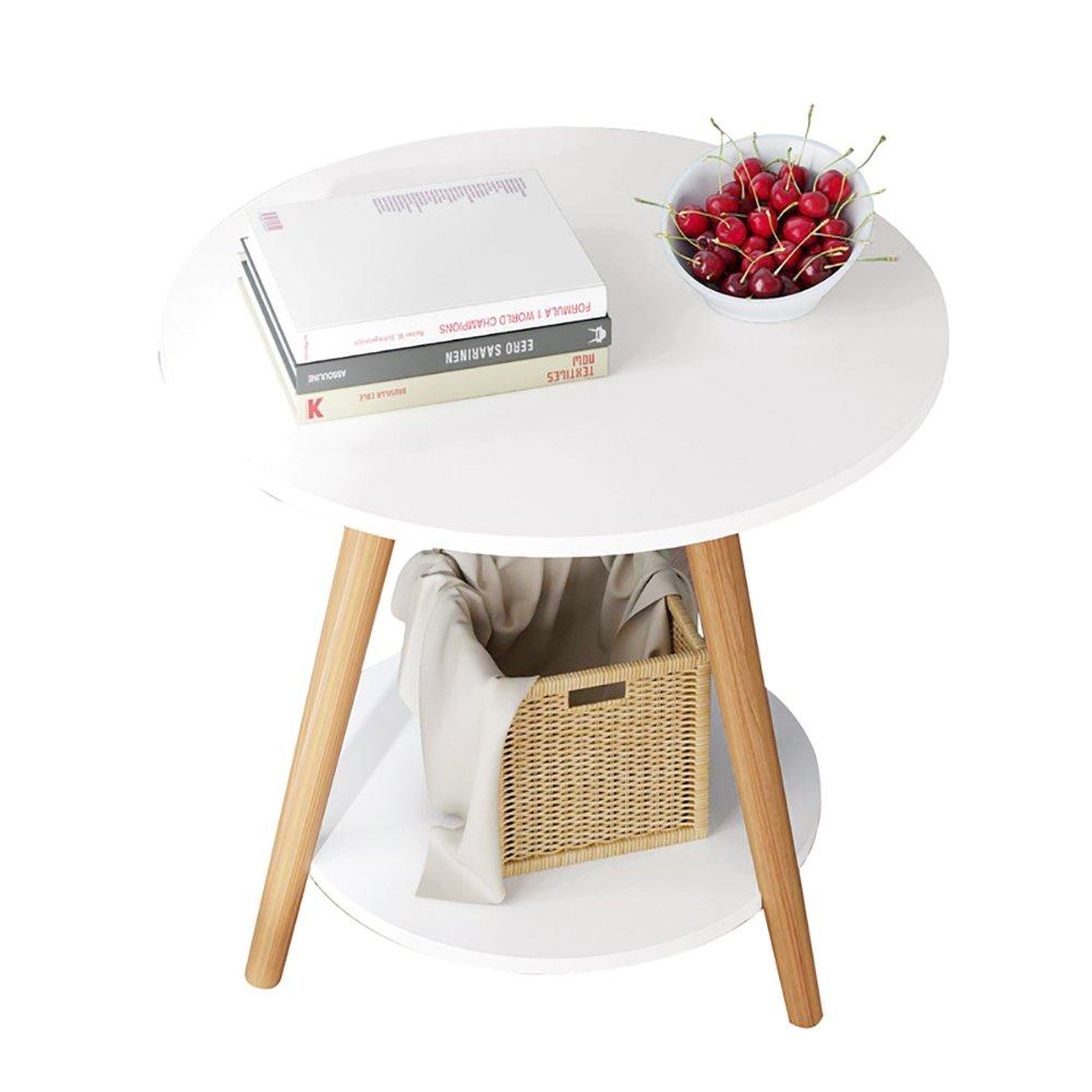 D&L Massivholz Wasserdicht Beistelltisch, Oval Wohnzimmer Sofatisch Couchtisch Schlafzimmer Nachttisch Vintage Telefontisch -Weiß 50x51cm