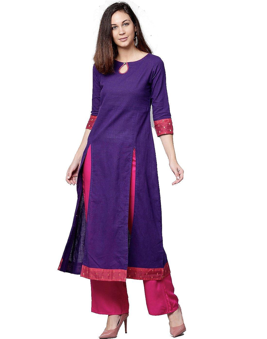 Jaipur Kurti Women Ethnic Casual Tunic Top Summer Dress Solid A-Line Cotton Slub & Chanderi Kurta & Palazzo (Purple & Rani)