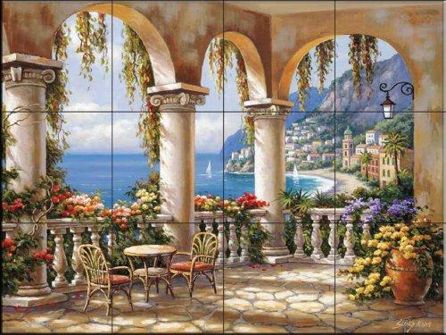 Ceramic Tile Mural - Terrace Arch I - by Sung Kim - Kitchen backsplash / Bathroom shower - Terrace Arch