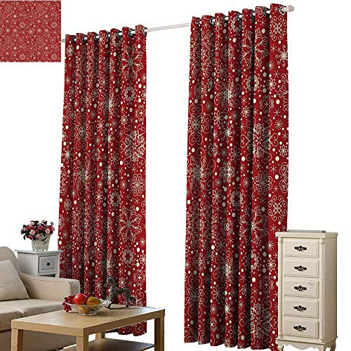 Black White Circle Blackout Curtains Red Filigree Style Snowflakes with Skinny Curl Details Cheerful Yuletide Inspiration in Art Red Beige Pink Color Dream Princess W84 x ()