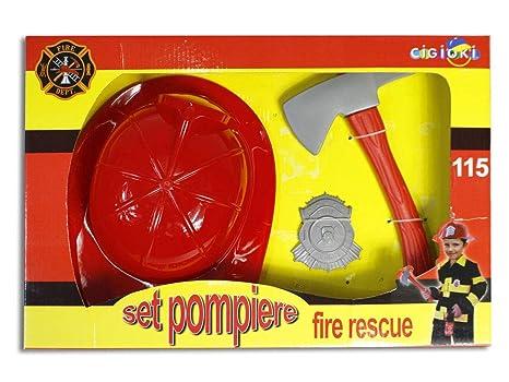 Vetrineinrete® Set Accessori da Pompiere con Casco Rosso Distintivo e Ascia  Giocattolo per Bambini Vigili 3736382efd41