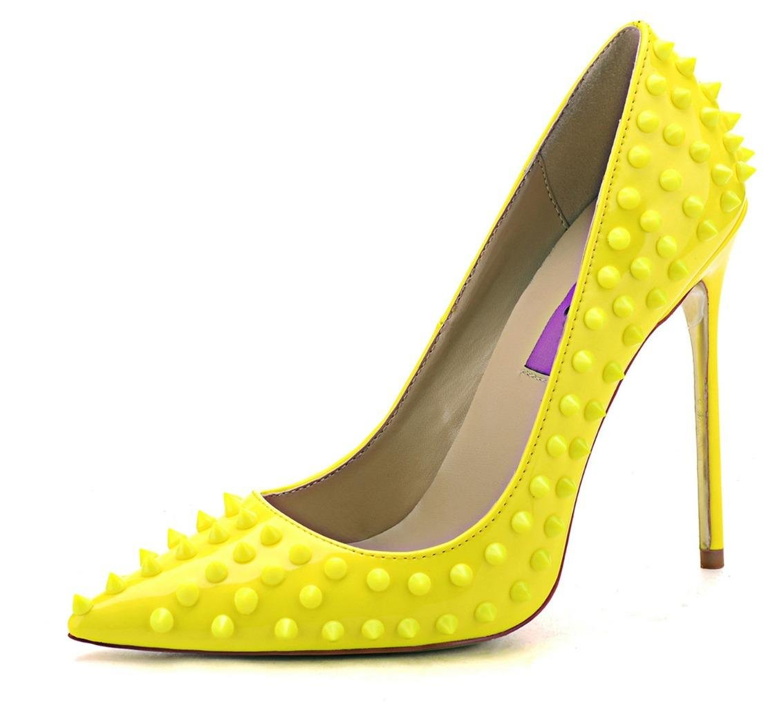 Jiu du Women's High Heel for Wedding Party Pumps Fashion Rivet Studded Stiletto Pointed Toe Dress Shoes B0791819DB US10.5/CN44/Foot long 27cm Yellow Pu