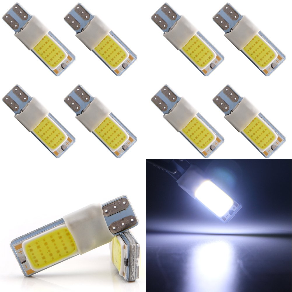 Grandview 10pcs 921 912 T10 T15 24SMD COB 120 lumens 8000K Extremely Bright LED Bulbs For Backup Reverse Lights Car Side Wedge Light Bulbs, Xenon White