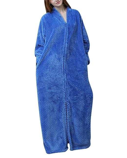 Bata de Estar por Casa-Albornoces Super Suave-Tamaño Grande-Larga Pijama, Home Basic-para Unisex Mujer Hombre: Amazon.es: Ropa y accesorios