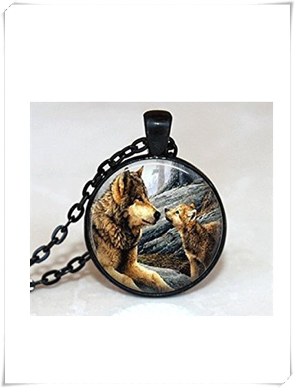 Wolf collar animal joyas lobo negro colgante de plata con collar