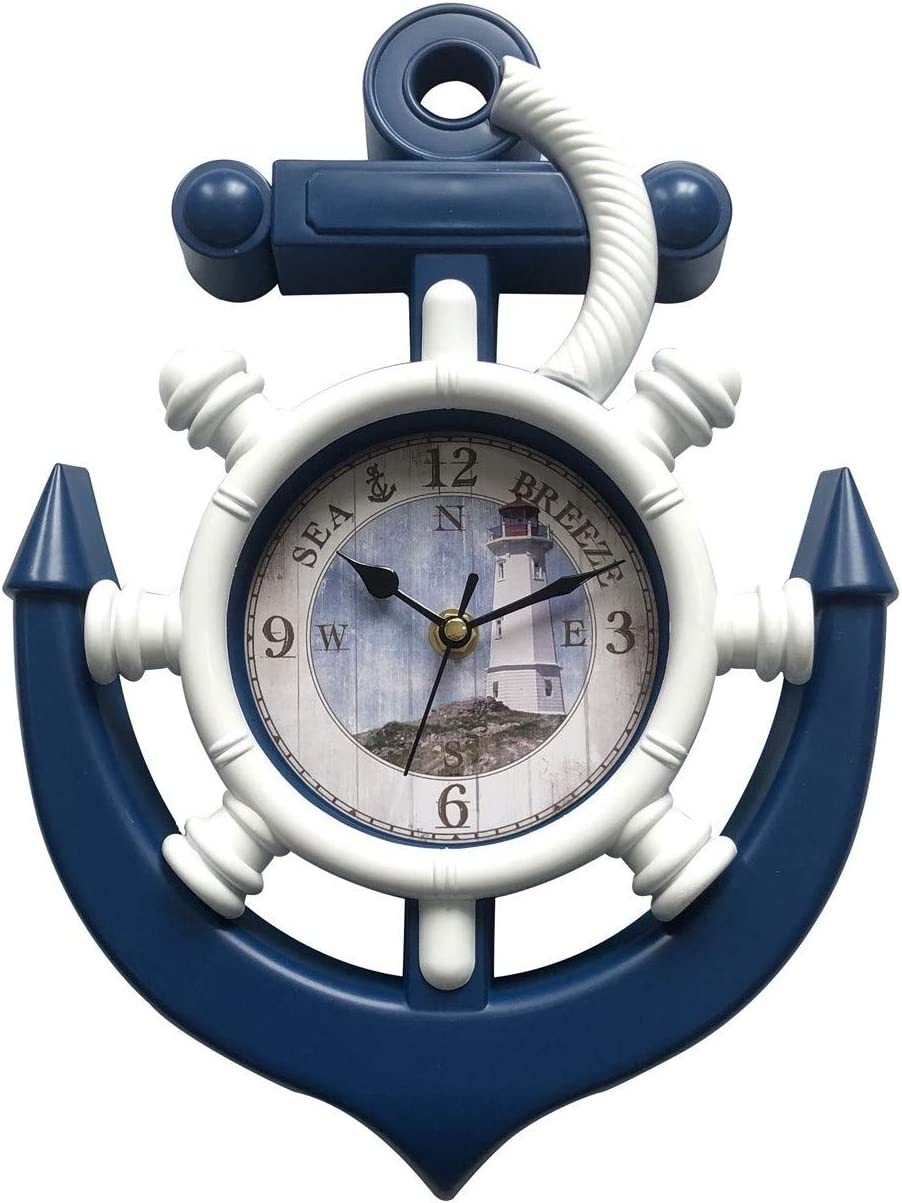 "Anchor Nautical Wall Clock 13"" x 9"" Home Decor Kitchen Decor (Lighthouse)"