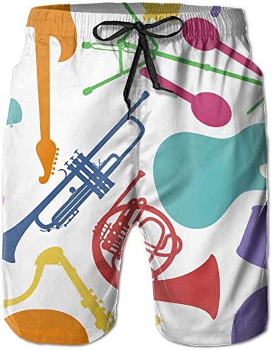 Mens Musical Instruments Shorts Pockets Swim Trunks Beach Shorts,Boardshort