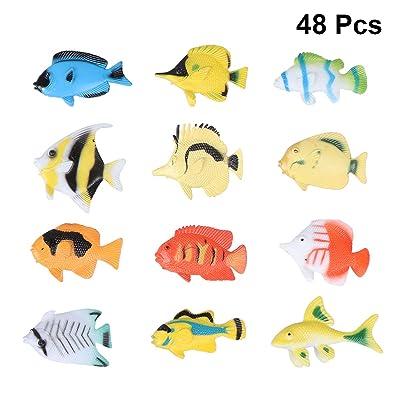 TOYANDONA 48pcs Assorted Color and Design Mini Tropical Fish Toy Set Preschool Kids Educational Toys: Toys & Games