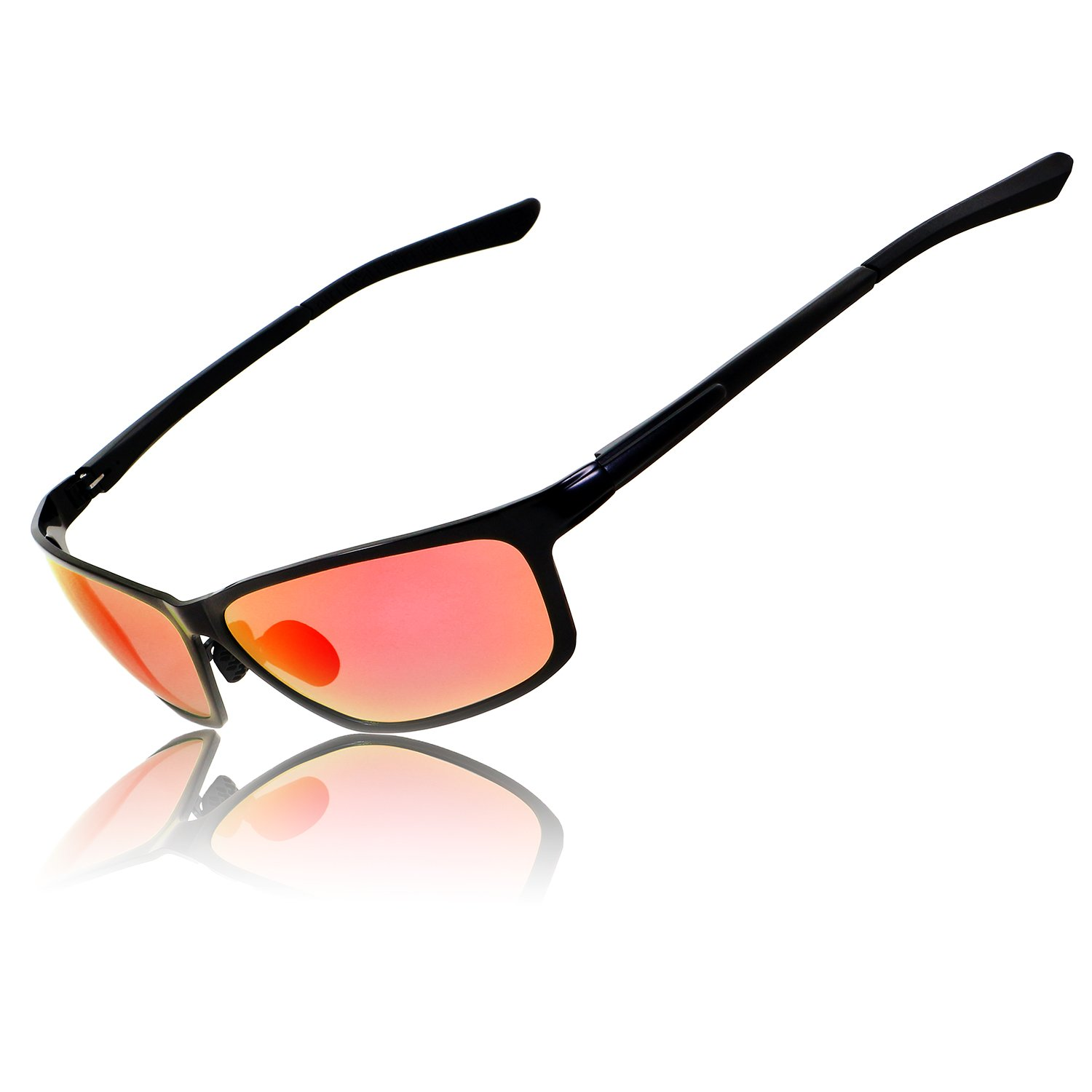 39293969e5eb Amazon.com: RONSOU Mens Sport Metal Polarized Sunglasses For Driving  Fishing Golf Outdoor with Gift Case black frame/red lens: Clothing