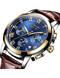 Men Leather Strap Military Watches Men's Chronograph Waterproof Sport Wrist Date Quartz Wrist watch – blue