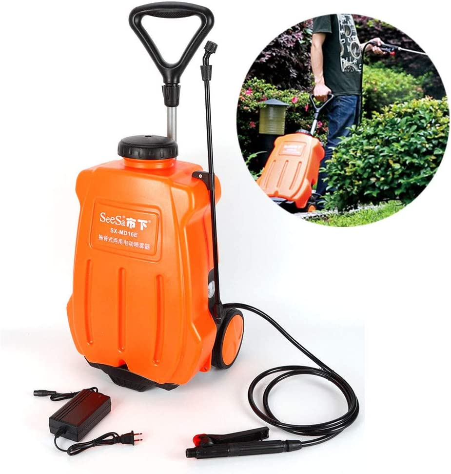 SHZICMY 16L Backpack Sprayer Electric Backpack Garden Wheel Sprayer Garden Weed Sprayer Dolly Cart Rechargeable Battery Orange USA Stock
