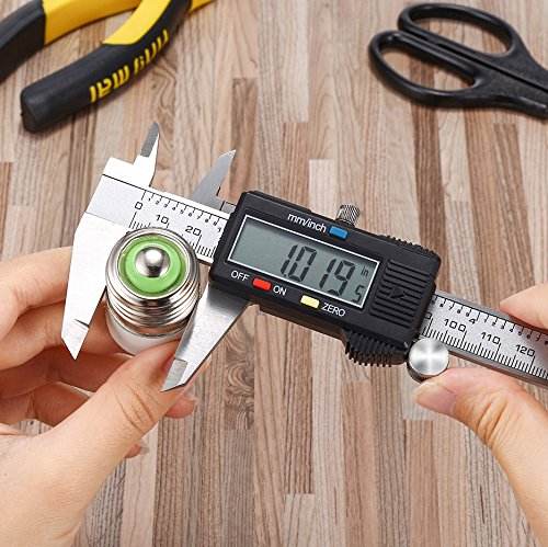Electronic Digital Caliper Vernier Scale Stainless Steel Body Inch/Millimeter Conversion 6inch/150mm LCD Screen Auto Off Measuring Tool with High Precision by Holite (Image #5)