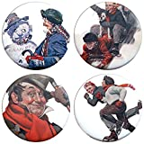 "Buttonsmith Norman Rockwell Winter 1.25"" Refrigerator Magnet Set - Made in the USA"
